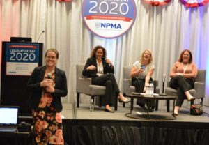 The NPMA's Allie Allen moderated a panel discussion on hiring and retaining employees that featured Leila Haas, Sara Cromwell and Daniele Collinson. PHOTO: PMP STAFF