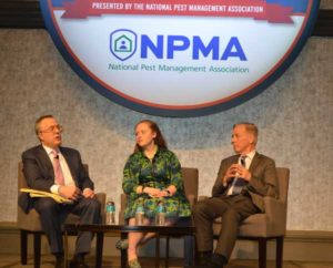 Keynote speakers The Washington Post Columnist Michael Gerson and Governor Howard Dean flank the NPMA's Vice President of Public Policy Ashley Amidon. PHOTO: PMP STAFF