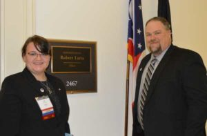 Jackie Ramsey (left) and her father, Copesan Services' Dave Ramsey (right), met with their state representative on Capitol Hill to help bring about change. PHOTO: PMP STAFF