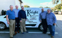 From left are: Randy Stout, Knight Pest Control; Andrew Barrows, EPS; Michael Rolman, EPS; David Joles, EPS; Billy Knight, Knight Pest Control. PHOTO: ENVIRONMENTAL PEST SERVICE
