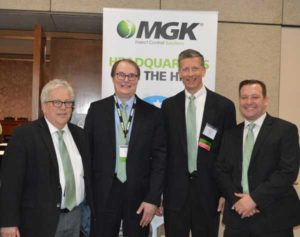 MGK sponsored the NPMA's Headquarters on the Hill luncheon. MGK staff on hand included (from left to right) Michael Burkett, Brian Krelitz, Steve Gullickson. PHOTO: PMP STAFF