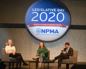 Politico journalists Anna Palmer (left) and Jake Sherman (right) participated in a friendly political debate moderated by the NPMA's Ashley Amidon, center. PHOTO: PMP STAFF