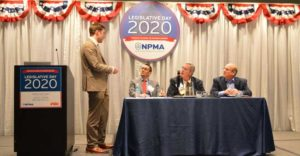 The Association Leadership Forum featured a panel discussion led by the NPMA's Director of Public Policy Jake Plevelich, left. Kevin Lemasters of EnviroPest, Bill Welsh of Rose Pest Solutions and Lonnie Alonso of Columbus Pest Control (pictured from left to right) discussed the lifecycle of a bill. PHOTO: PMP STAFF