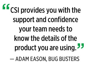 CSI provides support, quote by Adam Eason. Graphic: PMP Staff