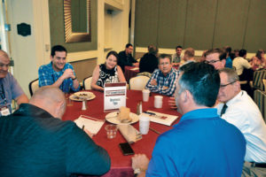Over a buffet-style breakfast both Thursday and Friday mornings, roundtable participants shared concerns and solutions on a variety of industry topics. PHOTO: PMP STAFF