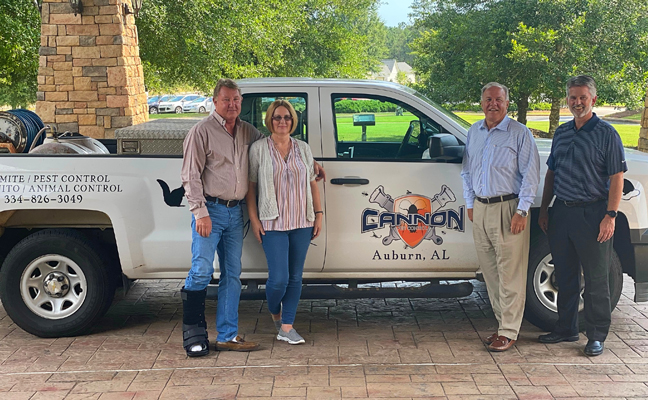 From left are Darryl and Wendy Cannon with Arrow's Kevin Burns and Tim Pollard. IMAGE: ARROW EXTERMINATORS