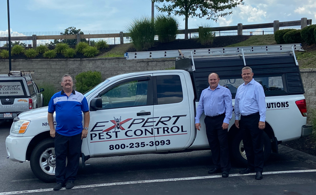 From left are Jim Byrne of Expert Pest Control; Chris Weppert, region manager for Waltham Pest Services; and Mark Bretz, VP and general manager for Waltham Pest Services. IMAGE: WALTHAM