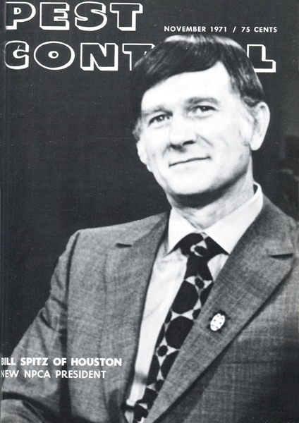 Cover of Pest Control November 1971, Bill Spitz, NPCA pictured. (Image: Pest Management Professional Archives)