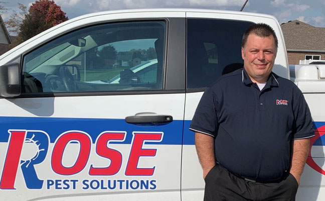 George Meacham stands in front of a Rose Pest Solutions truck. IMAGE: ROSE PEST SOLUTIONS