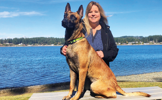 Deanna Kjorlien, President, Green Dog Pest Service, Gig Harbor, Wash., and one of her four-legged employees. PHOTO: DEANNA KJORLIEN