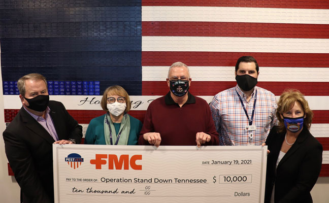 From left are FMC's Tom Wharton, OSD's Eden Murrie, Catchmaster's Dr. Stan Cope, OSD's Kyle Steffen, and Arrow's Marie Horner, ACE. PHOTO: ARROW EXTERMINATORS
