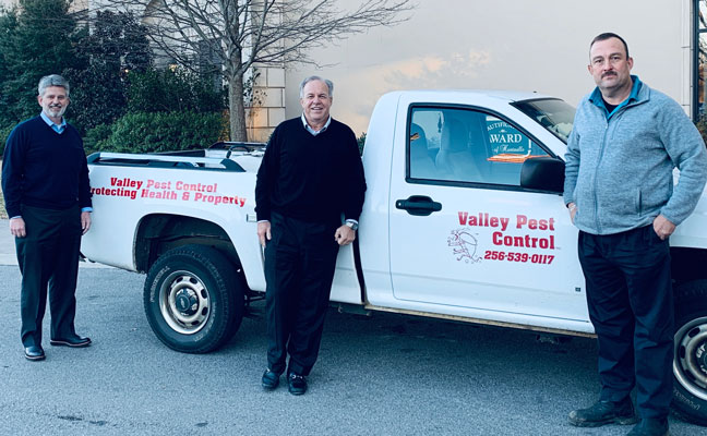 From left are Arrow's Tim Pollard and Kevin Burns, and Valley's Gary Phillips. IMAGE: ARROW EXTERMINATORS