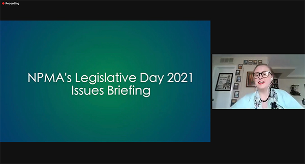 The NPMA's VP of Public Policy. Ashley Amidon, CAE, discussed the three regulatory issues that were the focus of this year's Legislative Day event.