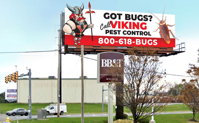 VIiking's longtime mascot is ready to face his foe, an oversized cockroach, in the company's latest billboard ad. IMAGE: VIKING PEST CONTROL