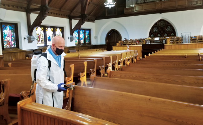 In April, Western Pest Services, a Rollins company, donated its Western PurClean service to the First Presbyterian Church of Rutherford, N.J., so the congregation could again meet in person. Disinfection donations like this have become the norm for Western, which has also worked with local firehouses and Boy Scout troops. PHOTO: WESTERN PEST SERVICES