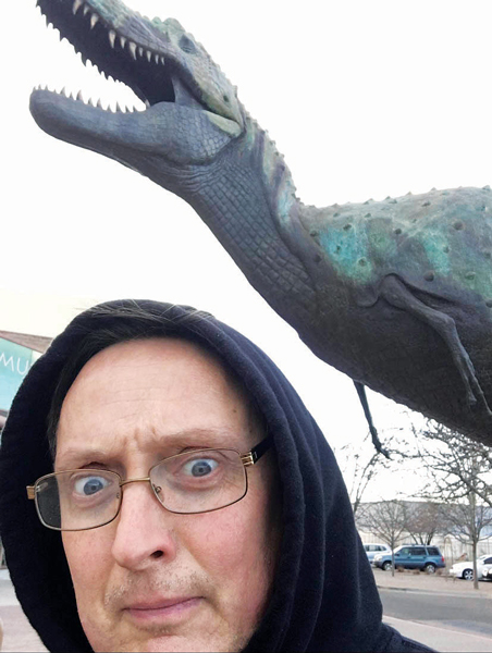 The author isn't really afraid of dinosaurs, unless that dinosaur works for the IRS. PHOTO: PETE SCHOPEN