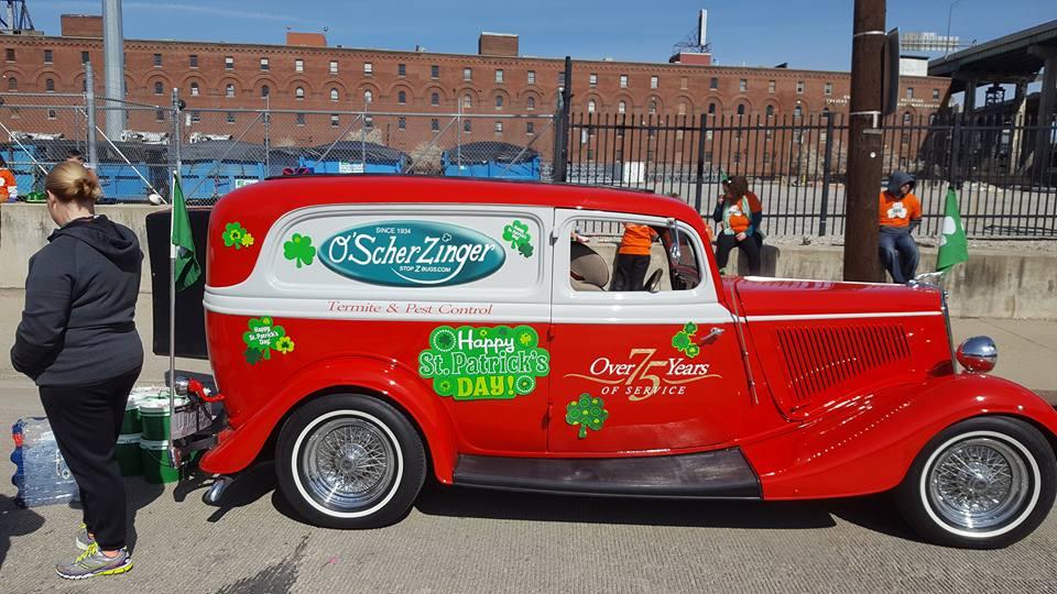 The Scherzinger Pest Control vehicle is decked out for St. Patrick's Day. PHOTO SCHERZINGER PEST CONTROl