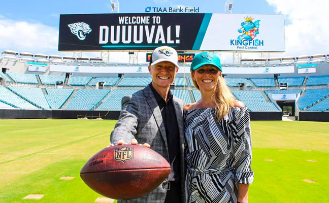 Brian and Kristin Lunsford, who co-own Kingfish Pest Control, made the announcement from TIAA Bank Field. PHOTO: KINGFISH PEST CONTROL