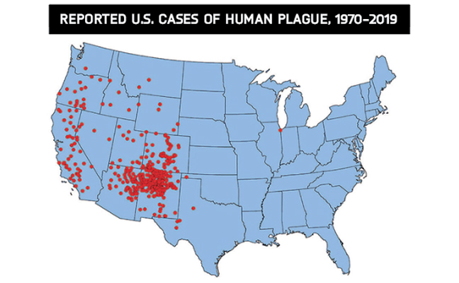 One dot is placed randomly in the most likely county of exposure for each confirmed plague case. Since the mid–20th century, plague in the U.S. typically has occurred in the rural West. The case shown in Illinois was lab-associated. SOURCE: CDC.GOV